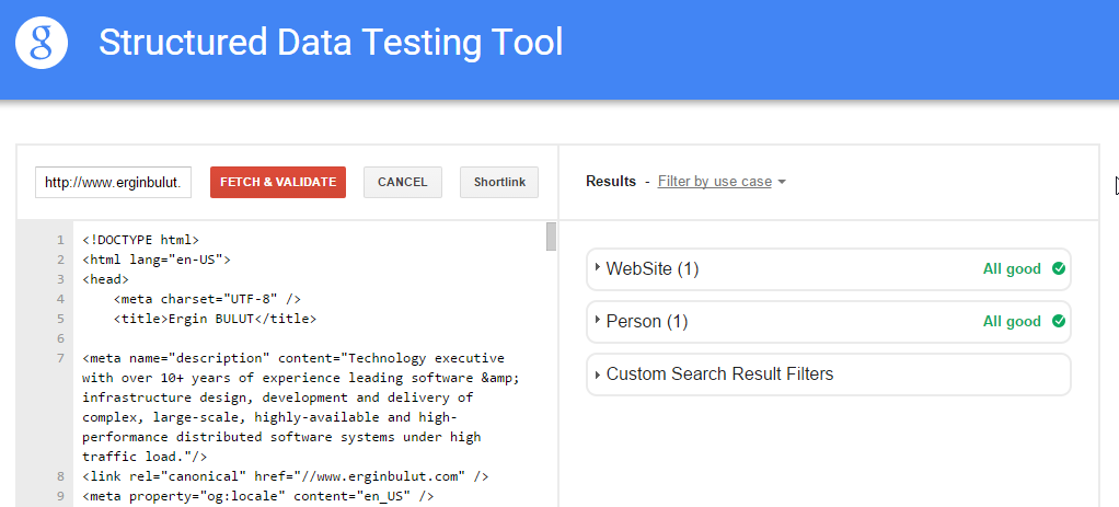 Structured Data Testing Tool results